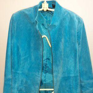 Turquoise Blue Suede Jacket US Size Large